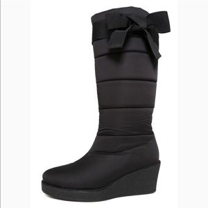 Kate Spade Cagney Satin Black Wedge Bow Boots